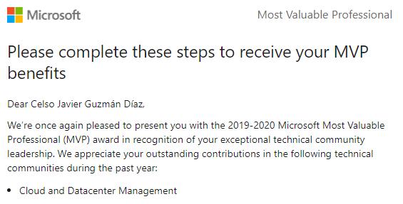 MVP - Cloud and Datacenter Management 2019-2020, MVP – Cloud and Datacenter Management 2019-2020., ElCegu