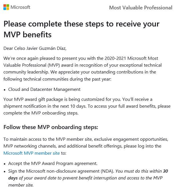, ¡Gracias Totales! – Premio MVP Cloud and Datacenter Management 2020 – 2021, ElCegu